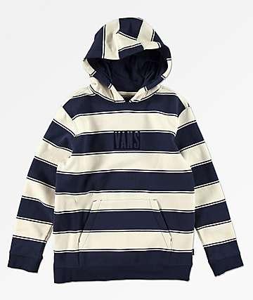 Vans Tall Box Logo sudadera con capucha azul y blanca para niños