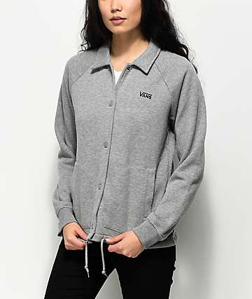 Vans Thanks Heather Grey Fleece Coaches Jacket