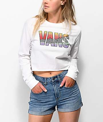 Vans Tore Up White Long Sleeve Crop T-Shirt