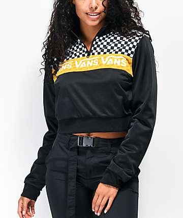 Vans Track Black, White & Yellow Half-Zip Crop Windbreaker Jacket