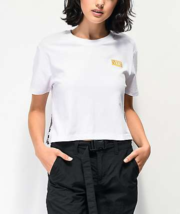 Vans Track Split Sided White Crop T-Shirt