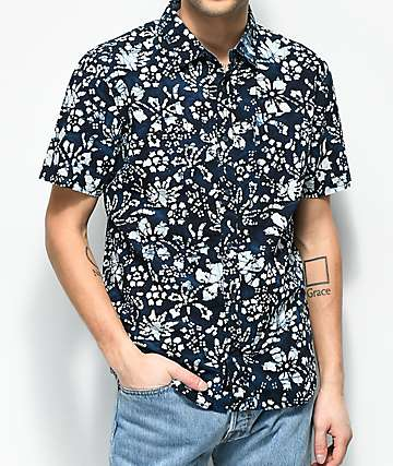 Vans Trippin Batik Navy Button Up Shirt