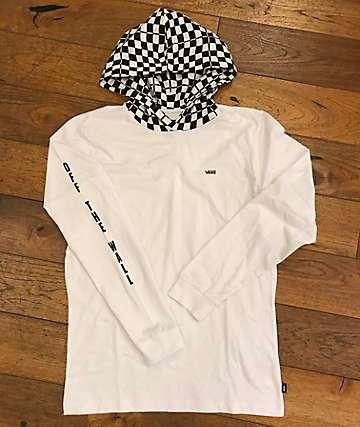Vans Van Doren White Hooded Long Sleeve T-Shirt