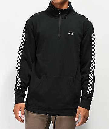 Vans Versa Quarter Zip Black & Checkerboard Sweatshirt