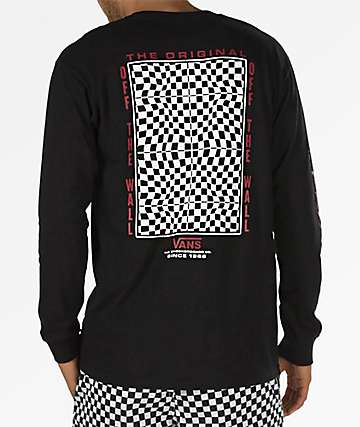 Vans Warped Check Black Long Sleeve T-Shirt