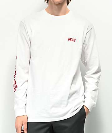 Vans Warped Check Sleeve White Long Sleeve T-Shirt