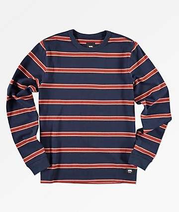 Vans Watson camiseta de manga larga de rayas rojas y azul marino para niños