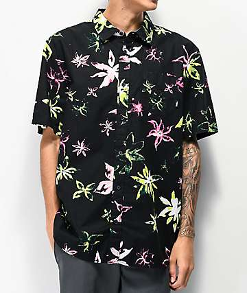 Vans West Street Floral Black Short Sleeve Button Up Shirt