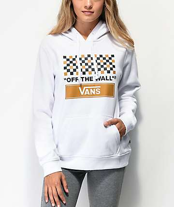 Vans White, Tan & Black Checkerboard Hoodie