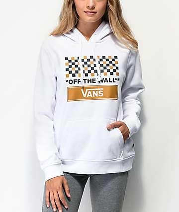 Vans White, Tan & Black Checkerboard Hoodie