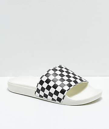 Vans White & Black Checkerboard Slide Sandals