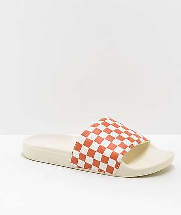Vans White & Carnelian Checker Slide Sandals