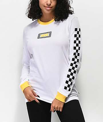 Vans White & Yellow Ringer Long Sleeve T-Shirt