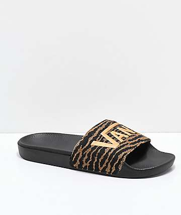 Vans Woven Tiger Black & Brown Slide Sandals
