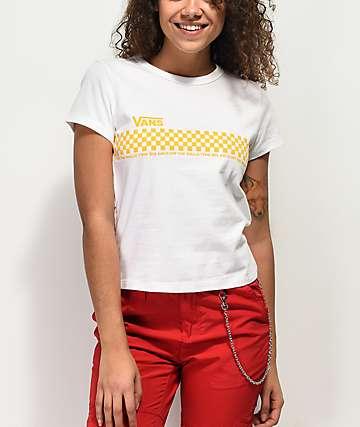 Vans camiseta blanca encogida de cuadros amarillos