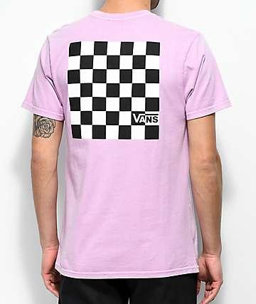 Vans camiseta morada a cuadros en negro y blanco