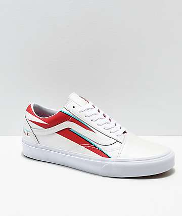 41ca6bee493 Vans x David Bowie Old Skool Aladdin Sane White Skate Shoes