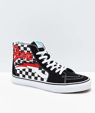 d48cc42bc0a4ed Vans x David Bowie Sk8-Hi Bowie Check Black   White Skate Shoes
