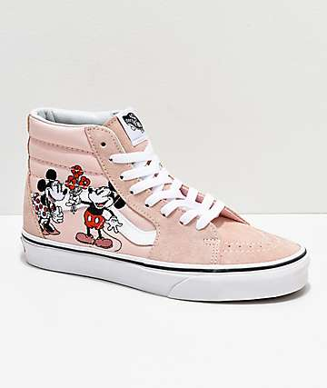 Vans x Disney Sk8-HI Mickey & Minnie Pink Skate Shoes