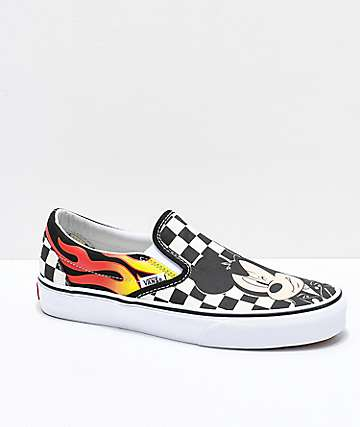Vans x Disney Slip-On Mickey & Minnie Checkerboard Flame Skate Shoes