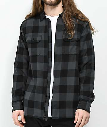 Vans x Independent Black & Charcoal Full Zip Flannel Shirt