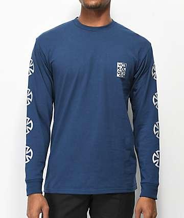 Vans x Independent Checkered Navy Long Sleeve T-Shirt