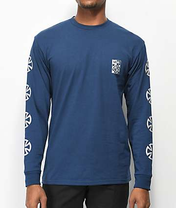 Vans x Independent Checkered Navy Long Sleeve T-Shirt
