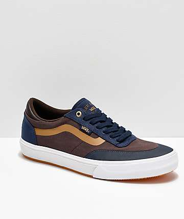 Vans x Independent Crockett 2 Dress Blue, Brown & White Skate Shoes