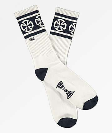 Vans x Independent II White & Navy Crew Socks