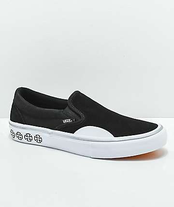 6a66c18894d1a3 Vans x Independent Slip-On Pro Black   White Skate Shoes