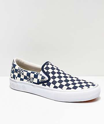 0ca1efd63e893b Vans x Independent Slip-On Pro Blue   White Checkerboard Skate Shoes