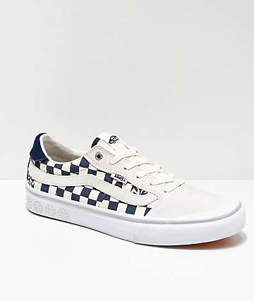Vans x Independent Style 112 Blue   White Checkerboard Skate Shoes 90a4b331b