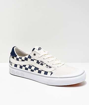 Vans x Independent Style 112 zapatos de skate de cuadros azules y blancos