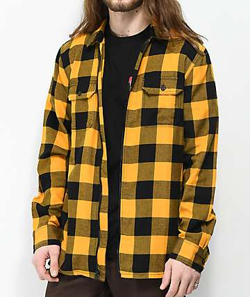 Vans x Independent Yellow & Black Full Zip Flannel Shirt