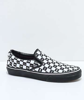 Vans x Lazy Oaf Classic Slip On Black & White Shoes