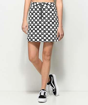 Vans x Lazy Oaf Eyeball Check Black & White Skirt