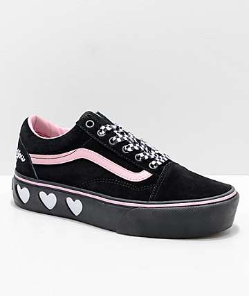 Vans x Lazy Oaf Old Skool Platform Black & Pink Shoes