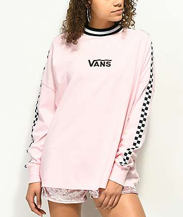 Vans x Lazy Oaf Pink Checkerboard Long Sleeve Shirt