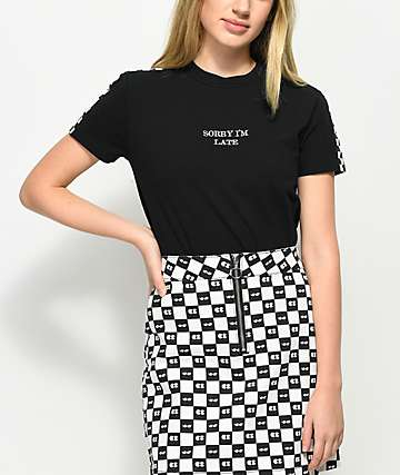 Vans x Lazy Oaf Sorry I'm Late Black T-Shirt