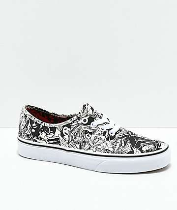 Vans x Marvel Authentic Marvel Women Black & White Skate Shoes