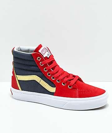 Vans x Marvel Sk8-Hi Captain Marvel zapatos de skate en rojo, azul y blanco