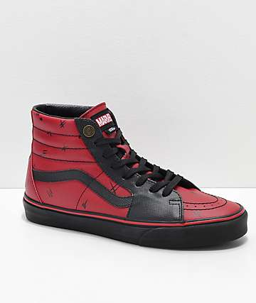 fae072635 Vans x Marvel Sk8-Hi Deadpool Red & Black Shoes