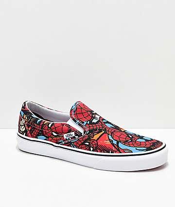 3f4c3396847f Vans x Marvel Slip On Spiderman Red   Blue Shoes