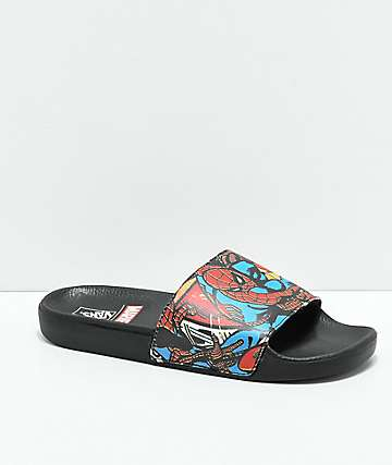 Vans x Marvel Spiderman Black Slide Sandals
