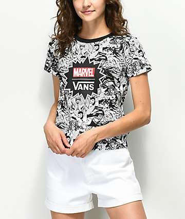 Vans x Marvel Women camiseta encogida negra y blanca