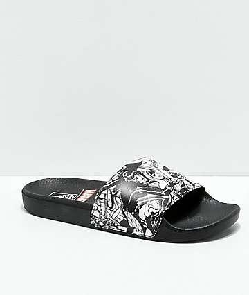 Vans x Marvel sandalias negras y blancas