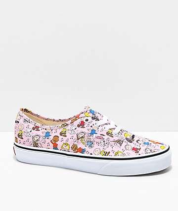 7620bbb7c3a Vans x Peanuts Authentic Dance Pink   White Skate Shoes