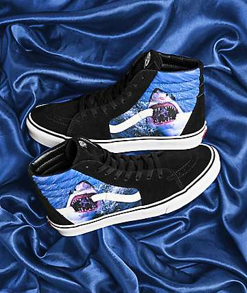 Vans x Shark Week Sk8-Hi Black & White Skate Shoes