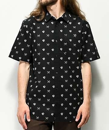 Vans x Sketchy Tank Crossroad Black Short Sleeve Button Up Shirt