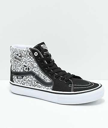 Vans x Sketchy Tank Sk8-Hi Pro zapatos de skate reflectantes en negro y blanco